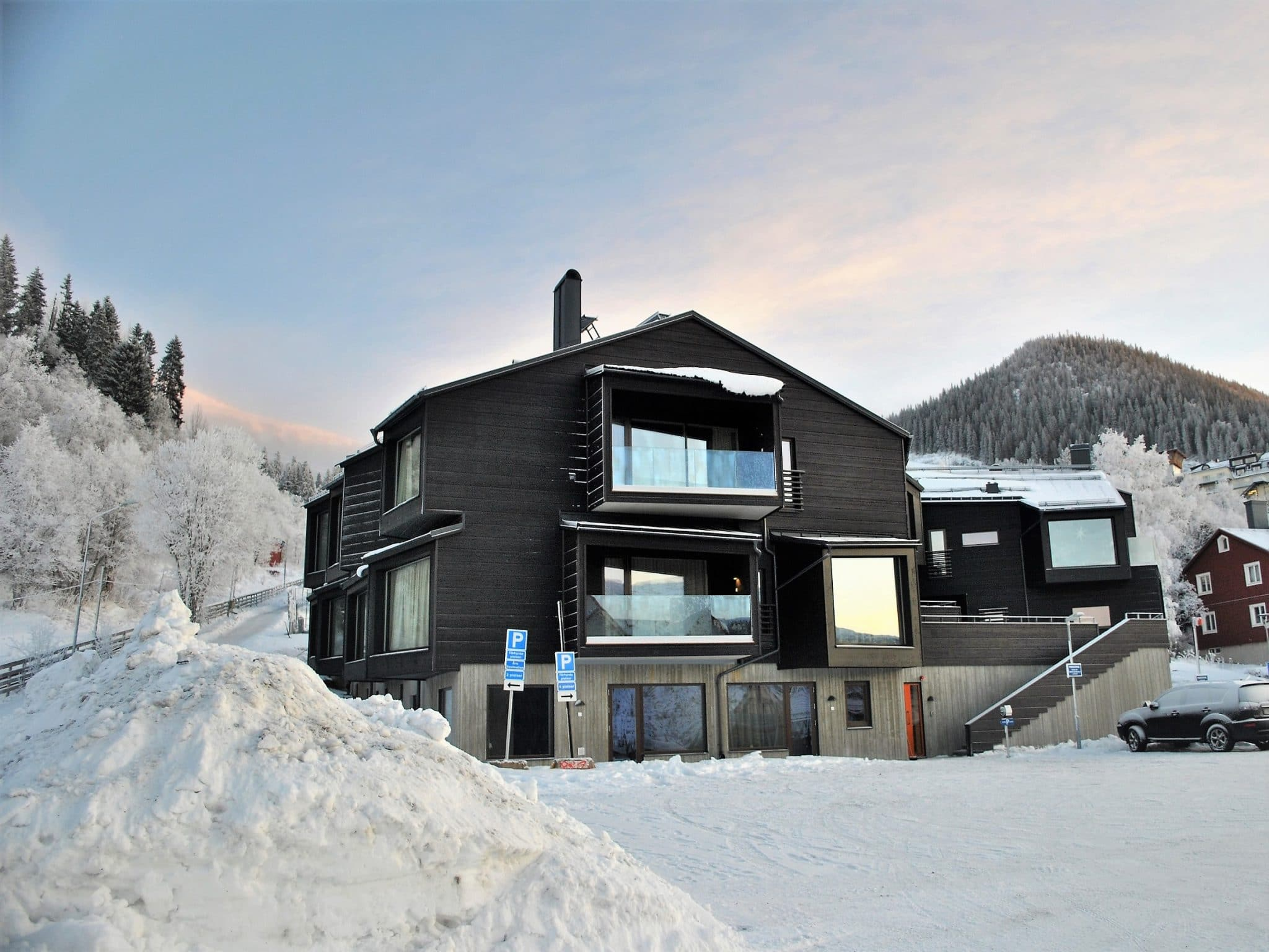 Skiers Lodge in winter