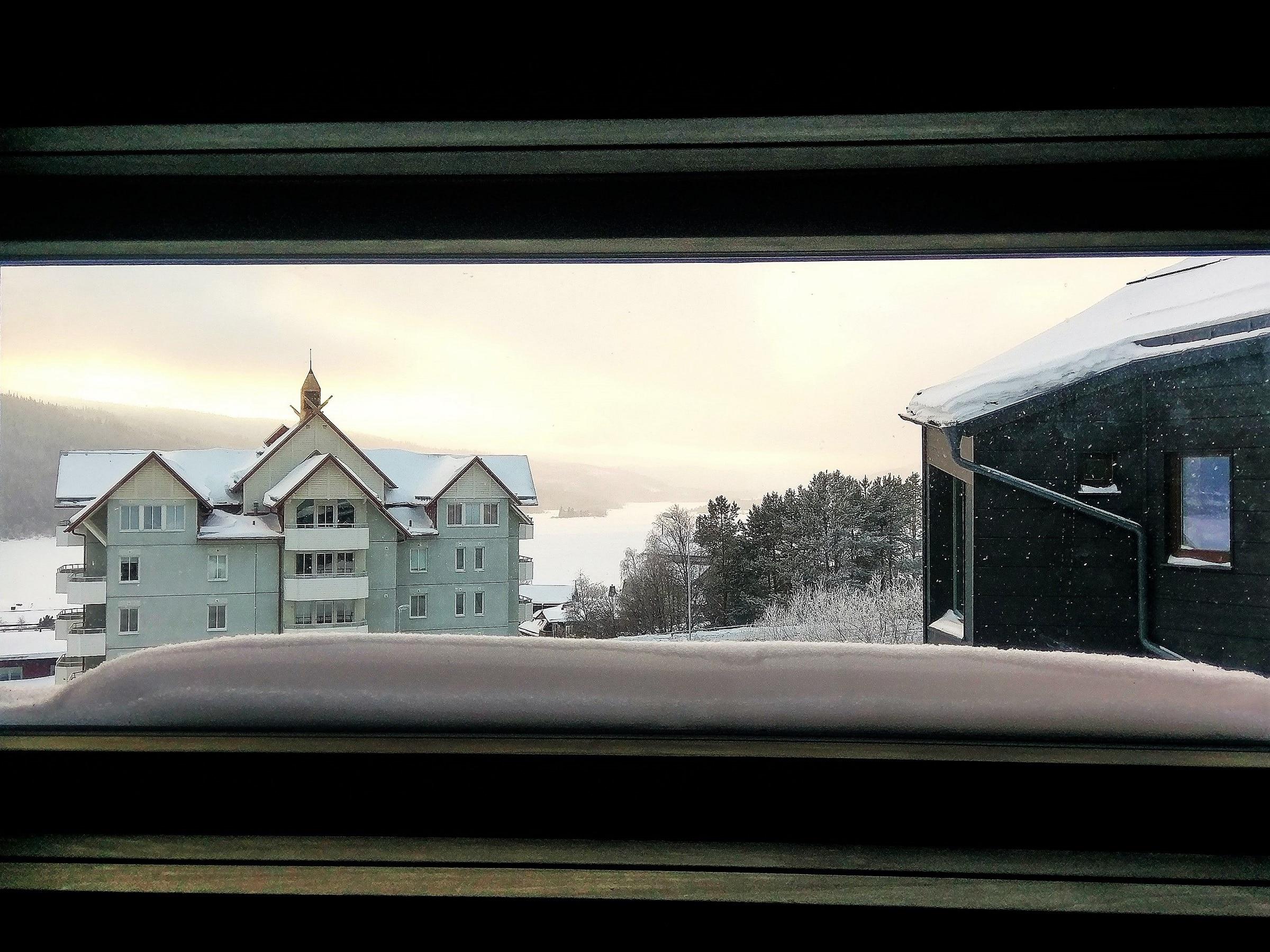 View of Åresjön from the sauna window in Skiers Lodge in Åre